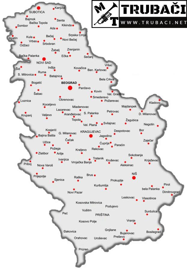 Baze trubača po gradovima Srbije